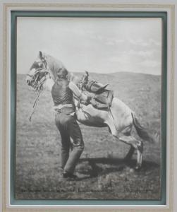 Andy Spellman, Saddling the Wild Horse, Ekalaka, Montana 1894, Laton A. Huffman, Collotype,10 x 8 inches. $1550.00