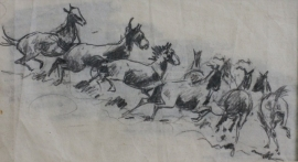 Edward Borein Pencil Sketch, unsigned, 4 x 7.25 inches, $1,200.00
