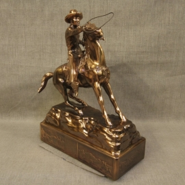 Cowboy Throwing Lariat Copper Statue 2