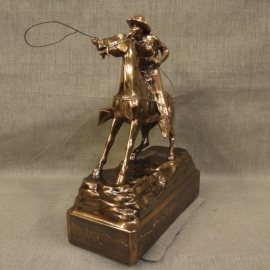 Cowboy Throwing Lariat Copper Statue 3