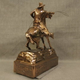 Cowboy Throwing Lariat Copper Statue 4