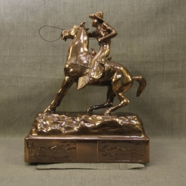 Cowboy Throwing Lariat Copper Statue 5