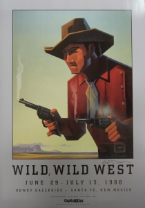 "Wild, Wild West, Dewey Galleries, 1988, Offset lithography, Signed by Ed Mell, 30 x 20 inches, signed. Rare vintage show poster produced for exhibition and sale of Western theme fine art and Western memorabilia and collectibles. The image was based on the Western pulp magazines art covers. The original painting was purchased by Arnold Schwarzenegger while in Santa Fe filming the movie ""Twins"" with Danny DeVito. $110.00, Free Shipping Continental US."