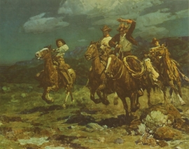 "Frank Tenny Johnson 14.5""x18.25, Rough Riding Rancheros, Vintage Color Lithograph, Printed by Western Lithograph Co. for their ""Calendar Series"" in 1939 $95.00, Free Shipping"