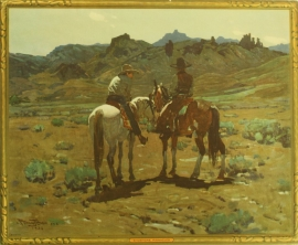 "Frank Tenny Johnson 16x19.5, Shoshone Pinnacles Vintage Color Lithograph, Printed by Western Lithograph Co. for their ""Calendar Series"" in 1939, $95.00, Free Shipping"