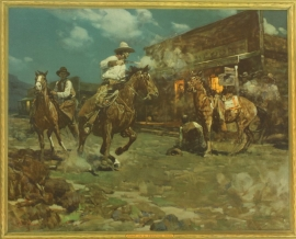 "Frank Tenny Johnson 16x19.5, Fight in a Frontier Town, Vintage Color Lithograph, Printed by Western Lithograph Co. for their ""Calendar Series"" in 1939, $95.00, Free Shipping"
