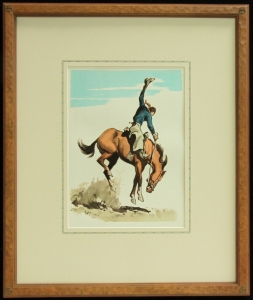 Vintage Lithographs, 1940s, published by Maynard Dixon. Hand carved frame with hand applied French line matte. Dixon Logo Thunderbird Corner, 23.5 x 19 inches, archival quality framing. $985.00 for the matching pair. SHIPPING $50.00.