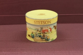 Stetson Miniature Gift Box, 4L x 3W x 2.5H inches $175.00. Stetson Hat created a miniature hat box as a promotion to sell hats with the retailer. A wide varity of boxes were made with the different styles of hats that they created. You would buy a hat as a gift and the recipient would receive the miniature. The person then went to the store where it was purchased and they chose the hat they desired. Free Shipping.