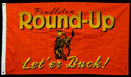 MODERN PENDLETON, LET'ER BUCK RODEO BANNER. 35 x 62 inches, $95.00.