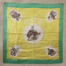Salinas Rodeo Silk Scarf, ca. 1930, 24 x 24 inches. $475.00, includes Salinas Rodeo Poster. Free Shipping